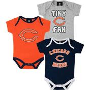 Chicago Bears 3pc Creeper Bodysuit Set Infant Baby Tiny Fan