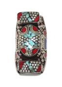 Turquoise Ring Coral Ring, Tibetan Ring, Nepal Ring, Gypsy Ring, Boho Ring