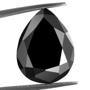 Skyjewels Black Diamond Solitaire.Pear Checker Cut.1.55 ct.Earth mined.CERTIFIED