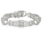 Sterling Silver Rhodium Plate White CZ Station Bracelet in 18cm length