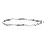 Sterling Silver Rhodium Plate White CZ Princess Channel Setting Wavy Bangle