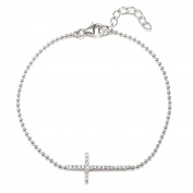 Sterling Silver Rhodium Plate White CZ Cross Bracelet in 18cm length Plus 2.5cm Extender with Ball Chain