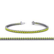 Peridot 2mm 2-Prong Tennis Bracelet 2.94 ct tw in 14K White Gold