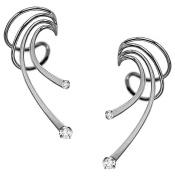 Ear Charm's Long 2 CZ Wave Ear Cuffs Rhodium on Silver Pair of NON-Pierced Earring Cuff