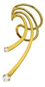 Ear Charm's Long 2 CZ Wave Ear Cuff Gold on Silver Left NON-Pierced Swirl CZ Earring Cuff