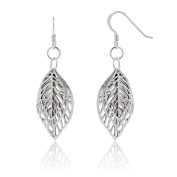 WithLoveSilver 925 Sterling Silver Filigree 3 Stencil Leaves Leaf Dangle Hook Earrings