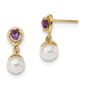 14K Gold w/ Amethyst & Freshwater Cultured Pearl Post Dangle Earrings