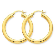 4mm x 35mm 14K Yellow Gold Classic Round Hoop Earrings