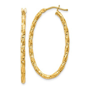 14k Yellow Gold Classic Textured Oval Hoop Earrings