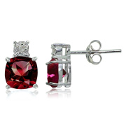 Sterling Silver Genuine or Created Gemstone Cushion-cut Drop Stud Earrings