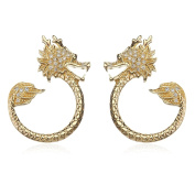 Yellow Gold Plated Sterling Silver Dragon Earrings White CZ with Black CZ in Eyes
