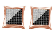 Ladies Heart Diamond Micro Pave Kite Stud Earrings in 14k Gold Over Sterling Silver