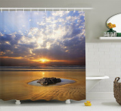 Ocean Decor Shower Curtain Set by Ambesonne, Reflection of the Sunset on the Coast Sunbeams Cloudy Sky Tourist Attraction Image, Bathroom Accessories, 210cm Extralong, Yellow Sand Grey