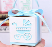 Somnr® 50 Pack Pink or Blue Baby Carriage Laser Cut Square Favour Gift Box Christening Baby Shower Party Favours