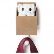 Qualy Kitt-a-Boo Peeping Cat Wall Hook Coathook Hanger Black Brown