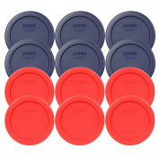 (6) Pyrex 7202-PC 1 Cup Red Round Lids and (6) Pyrex 7202-PC 1 Cup Blue Round Lids