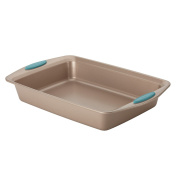 Cucina Nonstick Bakeware 23cm x 33cm Rectangle Cake Pan, Latte Brown with Agave Blue Handles