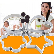 Efaster Simple Cute 4PC Thick Stainless Steel Omelette Mould Control Rice Omelette Mould Love