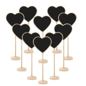 Muxika 10pcs Irregular Mini Wooden Blackboard Chalkboard Message Board Holder with Stand for Party Wedding Table Number/Place Card Favour Tag Setting Decoration