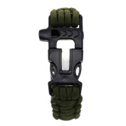 Vanki Multifunction Outdoors Survival Paracord Bracelet w/ Flint Fire Starter Scraper Whistle Kit - Army Green