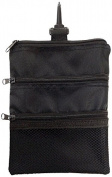 JP Lann Golf Multi-Pocket Tote Hand Bag and Valuables Pouch, Black, 20cm x 16cm