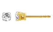 Round Cut White Cubic Zirconia Stud Earrings in 14k Gold Over Sterling Silver