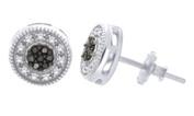 Black & White Diamond Round Studs Earrings in 14k Gold Over Sterling Silver