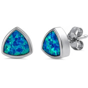 8mm Bezel Trillion Created White Opal Blue Opal Solitaire Stud Earrings 925 Sterling Silver Choose Colour
