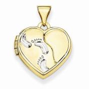 14K Yellow Gold 15mm x 15mm Foot Prints Design Heart Shape Locket Pendant
