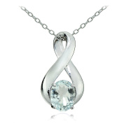 Sterling Silver Aquamarine Polished Infinity Necklace