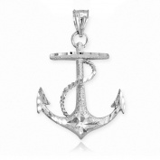 Textured 14k White Gold Fouled Anchor Necklace Pendant