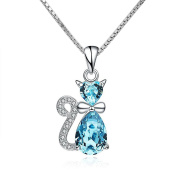 CoolJewelry Sterling Silver Cute Blue Cat Pendant Necklace, 46cm