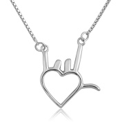 CoolJewelry Sterling Silver I Love You Gestures Heart Pendant Necklace