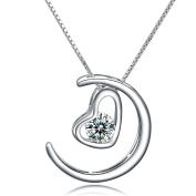 CoolJewelry Sterling Silver Crescent Moon And Heart Pendant Necklace