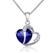 CoolJewelry Sterling Silver Heart I Love You More Pendant Necklace, 46cm