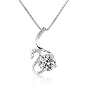 CoolJewelry Sterling Silver Elements Swan Pendant Necklace, 46cm
