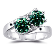 RINGJEWEL 2.30 ct SI1 Round Moissanite Solitaire Silver Plated Engagement Ring Green Colour Size 7.5