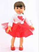 Valentines Tutu Dress | Fits 46cm American Girl Dolls, Madame Alexander, Our Generation, etc. | 46cm Doll Clothes
