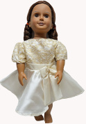 Off White Party Dress Fits 46cm Girl Doll Like American Girl And Our Generation Dolls