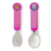Munchkin PAW Patrol Toddler Fork and Spoon Utensil Set, Pink