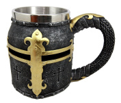 Atlantic Collectibles Mediaeval Templar Crusader Knight Suit of Armour Helmet Beer Stein Tankard Coffee Cup Mug