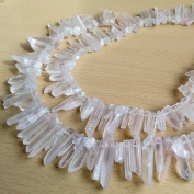 Raw Natural Rock Crystal Quartz Point Beads 15 inches Strand Rough Clear Quartz Pointed 20mm to 30mm Top Drilled