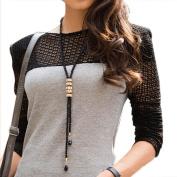 yueton Fashion Dress Sweater Necklace Rhinestone Charm Pendant Long Black Chain Women Clothing Accessories Jewellery