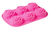 6 Cavity 3D Rose Shaped DIY Silicone Mould for Soap Cake Food Pudding and More