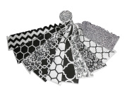20 6.4cm Beautiful Black and White JELLY ROLL - 10 DIFFERENT - 1 OF EACH