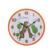 Silent 25cm Giraffe Safari Wall Clock for Kids Room - Quiet- Non Ticking - Battery Operated Children Clocks- Child Bedroom Décor Ideas/ Baby Shower Gifts for Boys/Girls/Nursery
