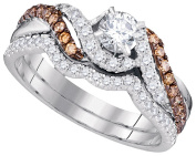 14kt White Gold Womens Round Natural Diamond Bridal Wedding Engagement Ring Band Set 7/8 Cttw