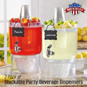 2 Pack Cold Beverage Drink Dispenser Stackable 6.6l with Chalkboard Label