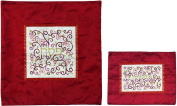 Matzah Cover For Matzah Shmurah Bread Plate Or Tray - Yair Emanuel EMBROIDERED MATZAH COVER SET POMEGRANATES WHITE ON RED