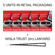 SanDisk Cruzer Glide 8GB (5 pack) SDCZ60-016G USB 2.0 Flash Drive Jump Drive Pen Drive SDCZ60 - Five Pack IN RETAIL PACKAGING! + Wisla Trust (TM) Lanyard